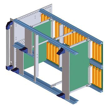 Baugruppenträger 6 HE als Aufbauvariante für Ein-/Aushebegriff und BUS-Platine